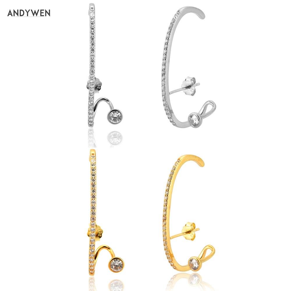 ANDYWEN 925 Sterling Silver Long Line Big Stud Earring 37.5mm Big Pendiente Luxury CZ Zircon Jewelry 2020 Fashion Piercing