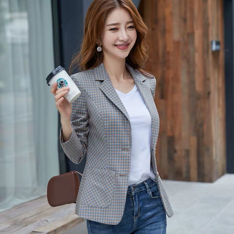 Plaid small suit women spring and autumn new Korean fashion wild casual Single Breasted  Regular  Button  Notched
