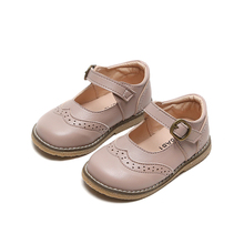 New Boys Girls Solid Leather Shoes Kids Student Casual