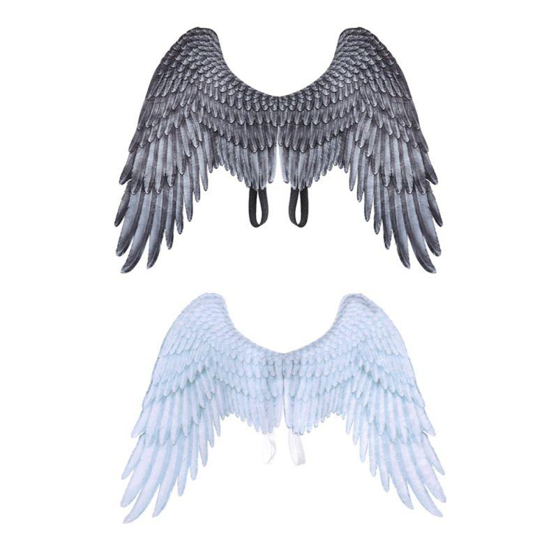 Костюм Марди Гра для взрослых и детей, черно белый, нетканый, с крыльями ангела и злом|Праздничные костюмы| | АлиЭкспресс