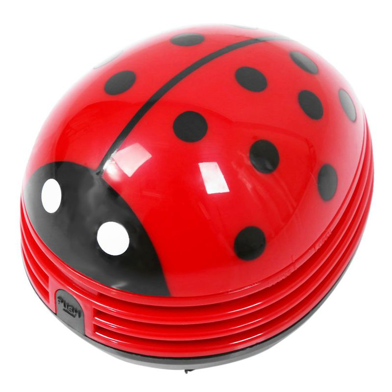 Ladybug Patterned Battery-operated Mini Vacuum Table Dust Cleaner, Red