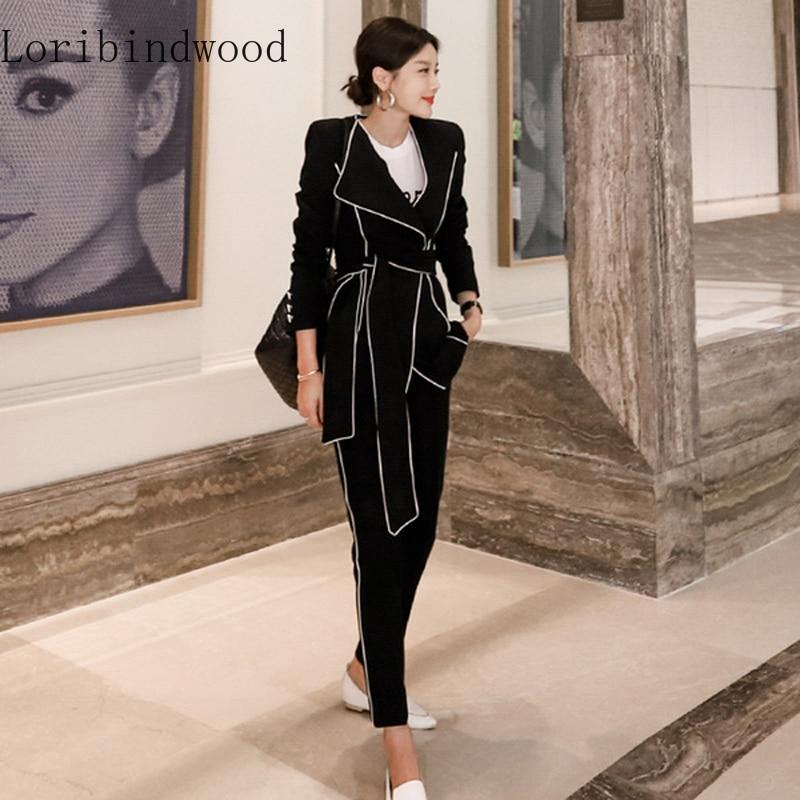 Elegant Autumn Pant Suit Two Piece Set Top And Pants Blazer Coat Sashes + Women Office Long Pants Blazer Suits Sets