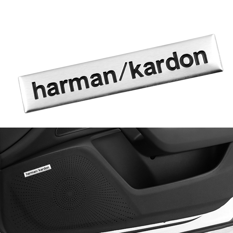 1pcs Car Styling 3D Harma / Kardon Hi-fi Stylish Stereo Speaker Aluminum Badge Badge Sticker For E46 E90 E60 Car Accessories