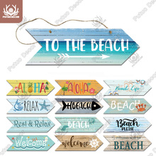 Putuo Decor Beach Arrow Wooden Wall Plaque Sign Beach Seaside Road Guide Wall Decoration Indicator Hanging Beach House Deocr cheap CN(Origin) American Style Irregular AS0097 Wood Wooden 3 1x10inch 1 x Wooden Plaque 1 X Flex Rope