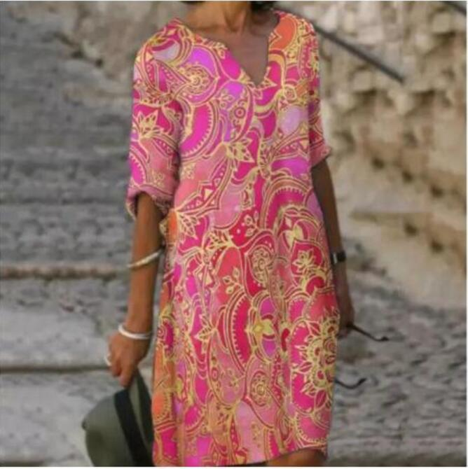 Chrysanthemum Women Dress Summer 2021 V-Neck Half Sleeve A-Line Dresses Female Vintage Loose Dress Vestidos Chrysanthemum Wome