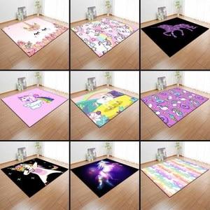 Image 5 - Alfombras de franela antideslizantes con dibujos de unicornios rosa para niños, tapete de juego para habitación de niñas, Alfombra de área decorativa, alfombra para sala de estar y alfombra