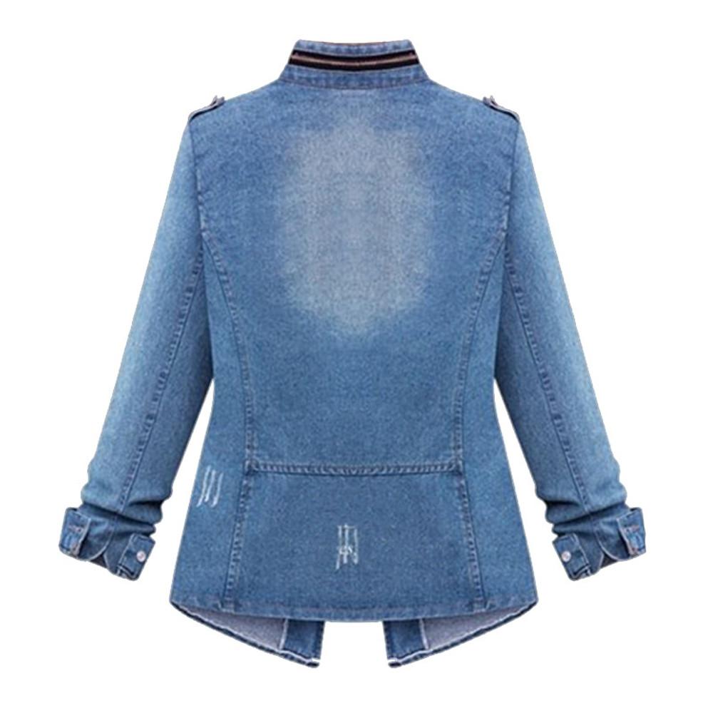 Women Denim Blouses Vintage Long Cuffs Sleeve Washed Female Denim Coat Shirts Blouse Lady Classic Lapel Tops Tees Jacket