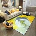 Ковры и коврики AOVOLL для дома  гостиной  абстрактного искусства  акварели  желтый  серый коврик  ковер для спальни  Скандинавское украшение  д...