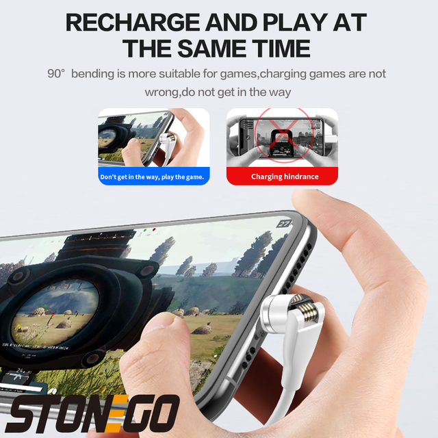 STONEGO 540° Rotating Charging Cable, 3A Magnetic USB Cables Fast Charging Data Sync Type-C / Micro USB Cable 3