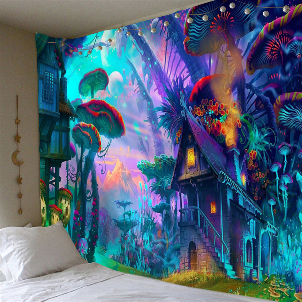 Trippy Mushroom Wall Tapestry Psychedlic Hippie Wall Hanging Blanket Home Decor