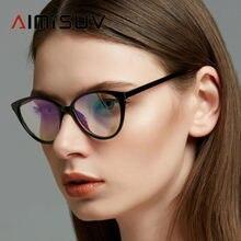 Óculos de grau feminino aimisuv 2020, óculos feminino de bloqueio de luz azul, armação óptica vintage transparente para mulheres