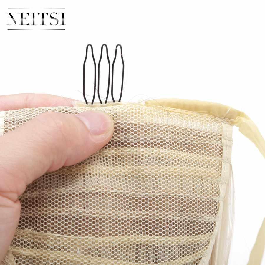 Neitsi 22 ''1 pc Clip In Haarstukje Rechte Cabelos Paardenstaart F16/613 Kleur Hittebestendige Hair Extensions