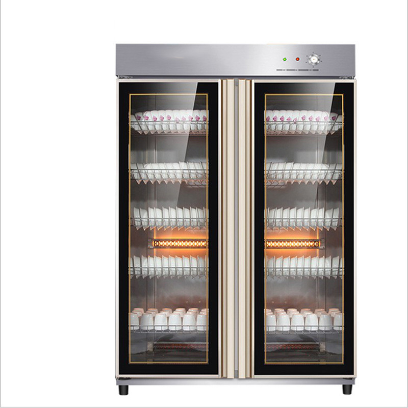 Vertical Double Door Low Temperature Disinfection Cabinet Canteen Restaurant Tableware Disinfection Cabinet Commercial Ozone