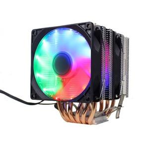 Image 4 - Ryzenラジエーター6ヒートパイプデュアルタワー冷却9センチメートルファンサポート3ファン4pin pwm cpuクーラーAM3 AM4 FM2 775 115X 1366 cpuのラジエーター