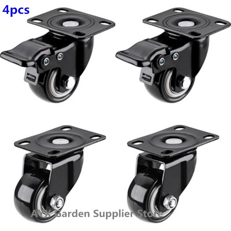4 o rodízio resistente do bloco 2in roda o giro do poliuretano com capacidade total superior da placa 220lb de 360 graus para a mobília-0
