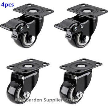 4 o rodízio resistente do bloco 2in roda o giro do poliuretano com capacidade total superior da placa 220lb de 360 graus para a mobília