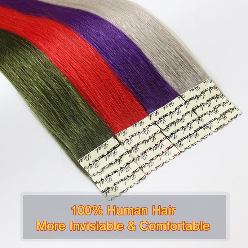 Colorido destaque extensões de cabelo mini fita em extensões de cabelo trama da pele cabelo humano 2 g/pc máquina remy vermelho azul roxo cor
