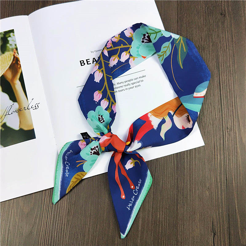 "23/""*23/"" Neck Scarf Women/'s Navy Blue Office Kerchief Small Fashion Hairband"