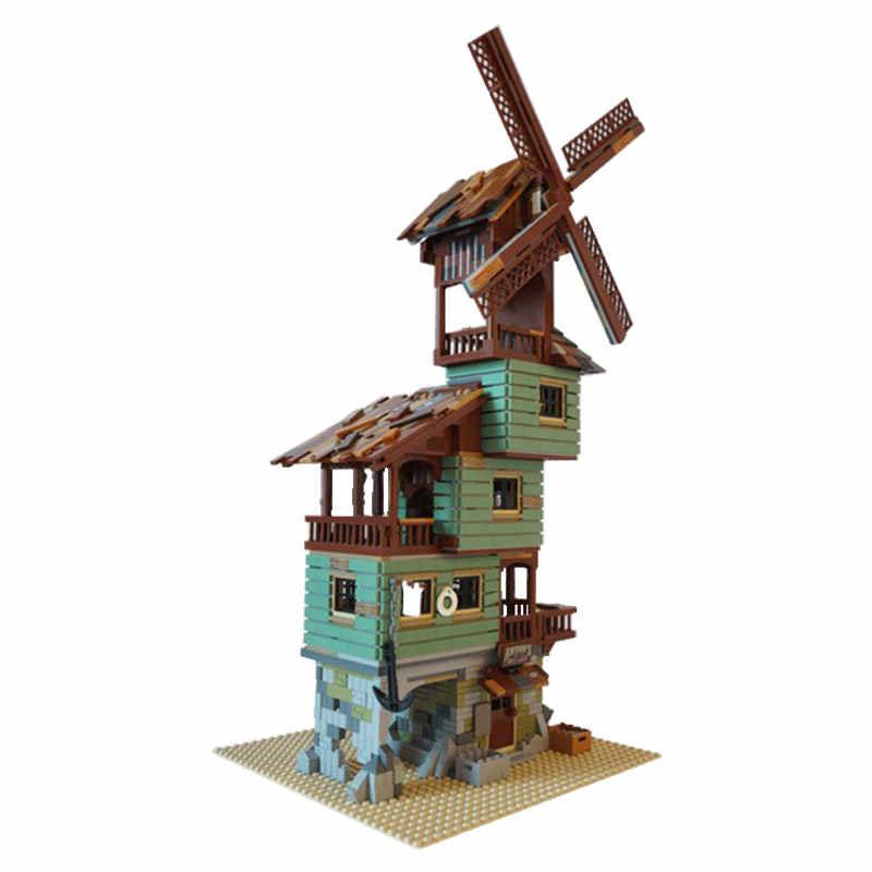 Juguetes de bloques de pesca viejos conjunto de tienda Compatible con ladrillos de construcción Moc DIY creador experto en vista de la calle arquitectura regalos de los niños