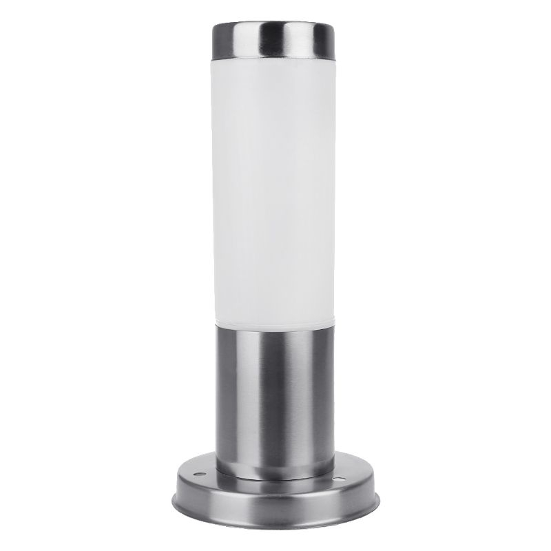 New L30Cm Stainless Steel Outdoor Lawn Light, White Shade E27 Garden Channel Lighting, Yard Exterior Landscape Light (Without Li