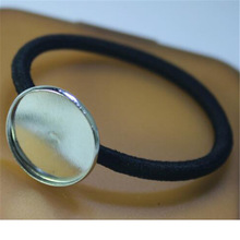Fashion Women Children Custom Glass Cabochon Headband High Quality Hairband Black Hair Accessories Elastic Hair Bands