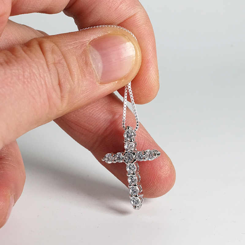 証明書11個ラボダイヤモンドクロスペンダントネックレス925スターリングシルバーチョーカーステートメントネックレス女性のシルバー925ジュエリー