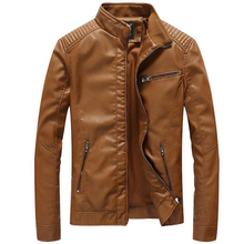 New Leather Jackets Men's Outwear Casual Washed Biker Motorcycle Jacket