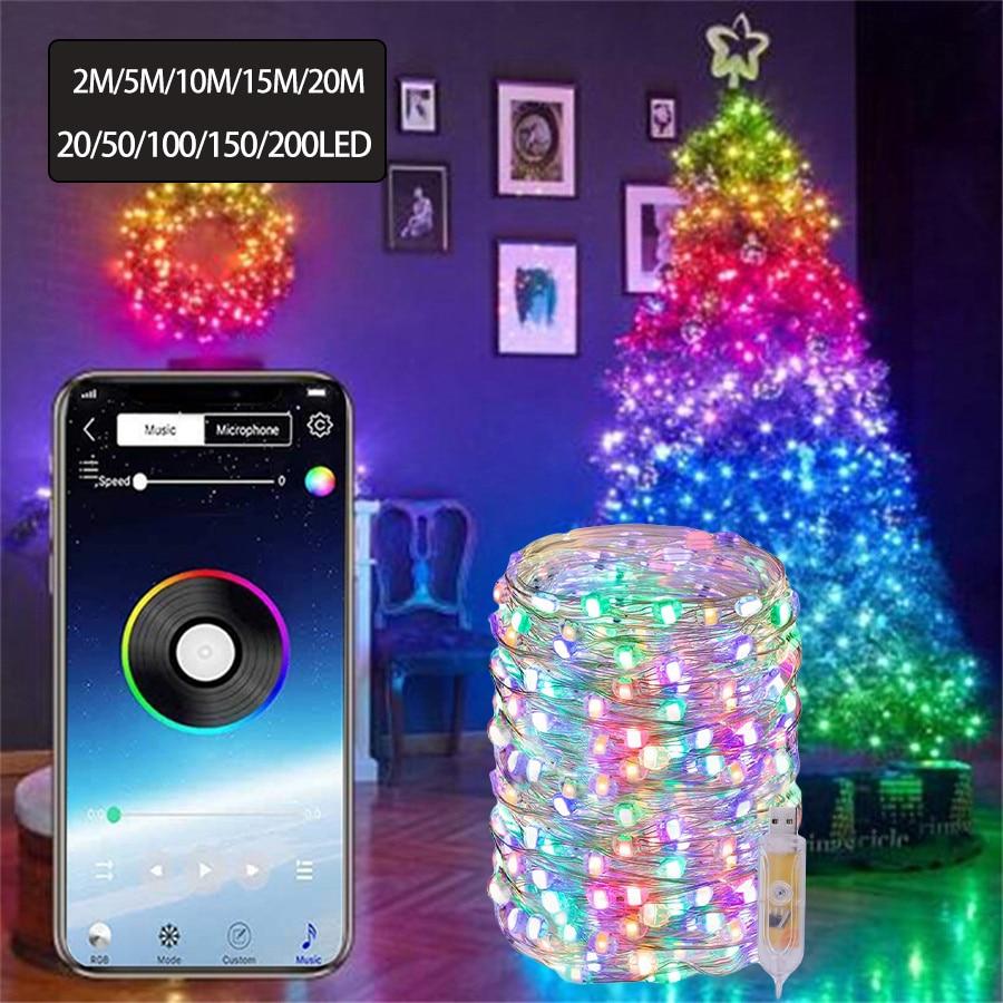 10 м/20 м Смарт медный провод светодиодные светящиеся гирлянды светильник Bluetooth App Управление Рождество, на свадьбу, на праздник, строка светил...