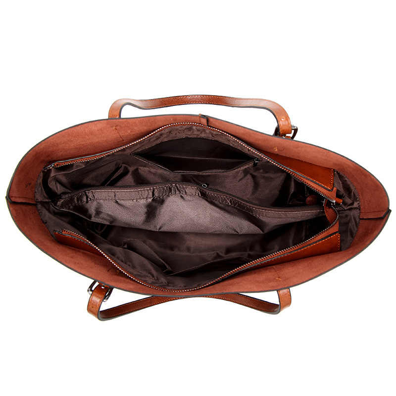 Vintage Asli Kulit Desainer Mewah Handbags Wanita Messenger Tas Kulit Sapi Besar Bahu Musim Panas Tas Merek Terkenal Bolsa C832