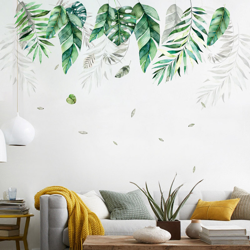Vegetação Tropical folhas grandes Adesivo de Parede papel de parede sala de estar sofá fundo Mural decoração home Da Arte Removível adesivos