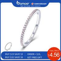 Bamoer 925 prata esterlina rosa cristal casamento anéis femininos para as mulheres simples geométrica anel de prata esterlina jóias scr066