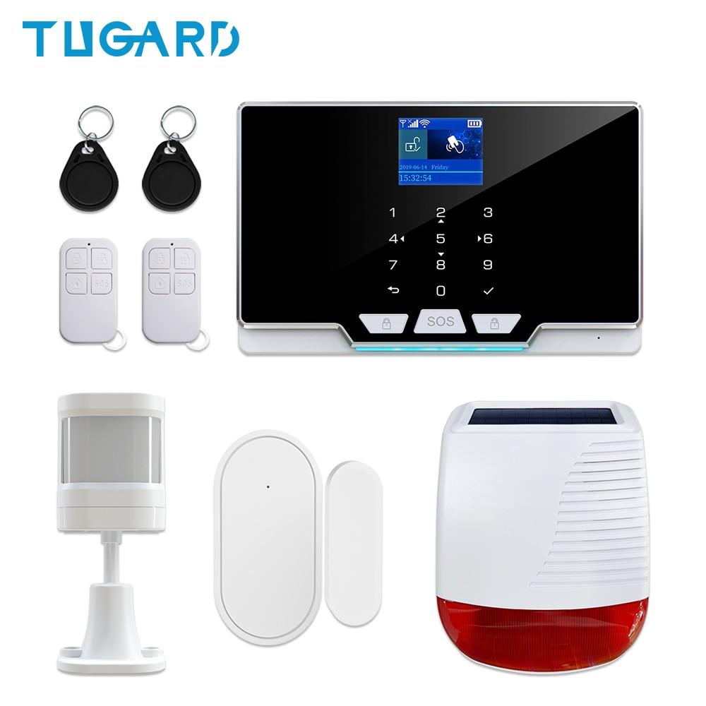 New GSM 3G 4G WiFi Home Security Burglar Alarm System Kit with 433Mhz Wireless Outdoor Solar Powered Siren 110dB Alarm Sound