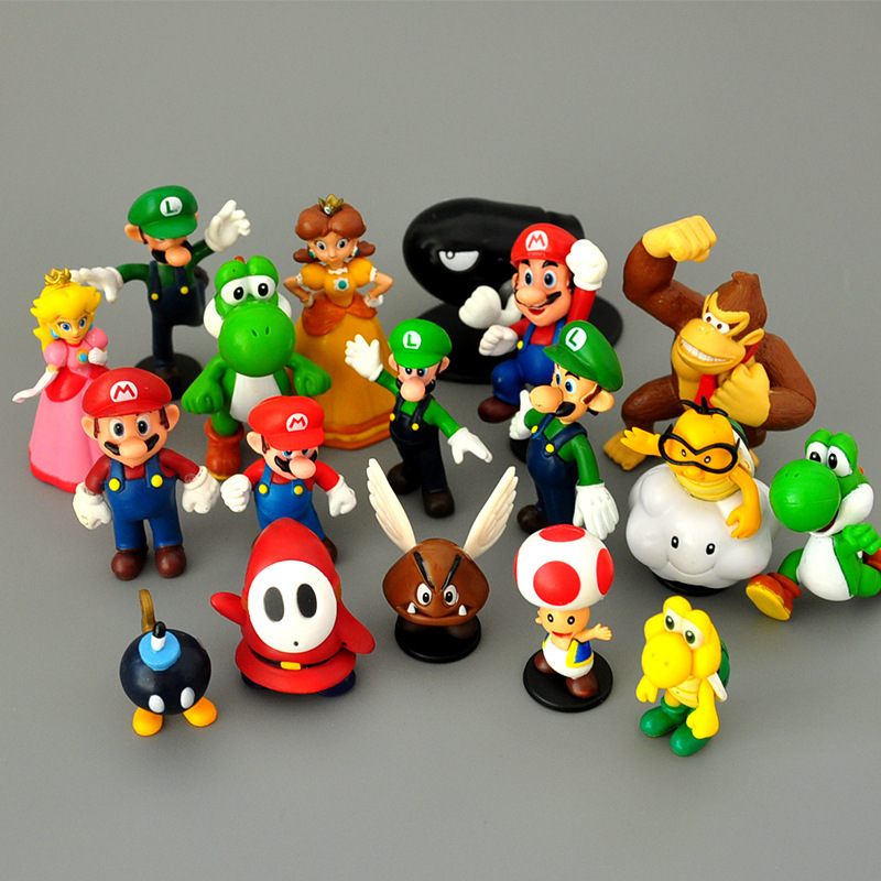 18 pçs/set Tesouro Cogumelo Princesa Peach Super Mario Verde Luigi Donkey Kong Figuras de Ação PVC Brinquedo Modelo Presente de Aniversário para Crianças