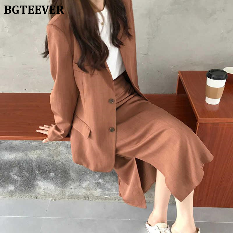 BGTEEVER Chic Two-pieces Women Skirt Suit Casual Female Blazer Sets Single-breasted Jacket & Split Skirt Women Blazer Suit 2020
