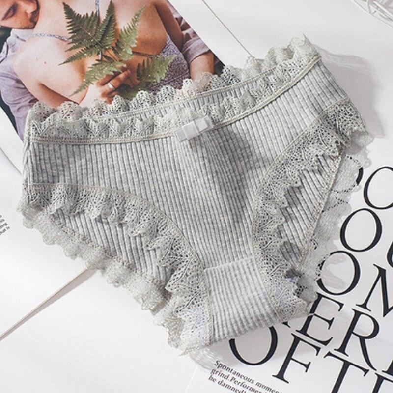 Women Thread Cotton Panties Bow Women's Underwear Solid Color Breathable Low Waist Girls Female Plus Size Lady Briefs 2