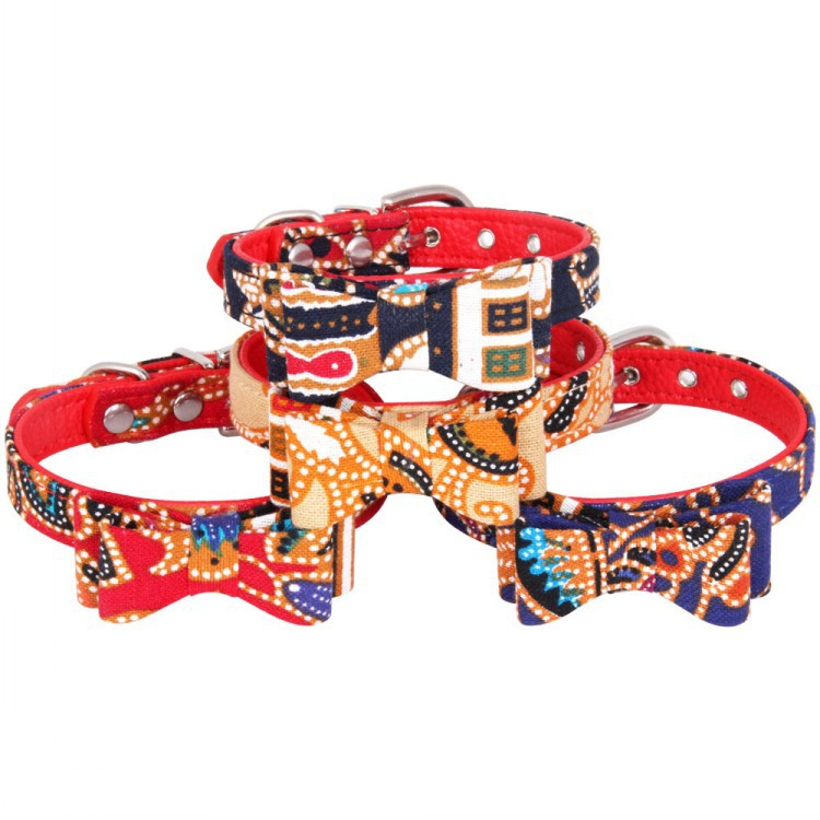 [Factory Supply Of Goods] Hot Selling Cotton Cloth Surface Red Large Litchi PU Bottom Pet Supplies Bow Cat Dog Collar