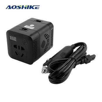 AOSHIKE-inversor de corriente continua para coche, conversor de corriente multifunción QC3.0 de 12V a 220V, 100W, con 4 adaptadores de cargador USB para coche