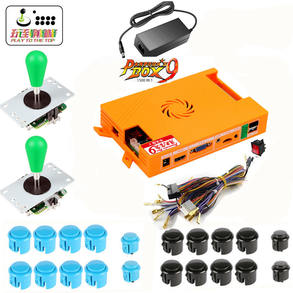 NEW Pandora Box 9 1500 in 1 Games Set DIY Arcade Kit Push Buuttons Joysticks Arcade Machine 2 Joysticks DIY Kit Bundle Home