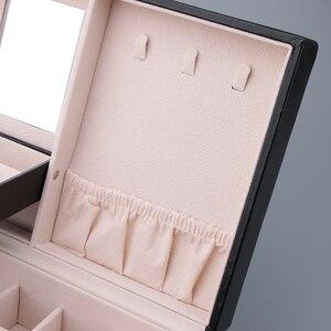 Image 5 - Multicamadas de couro brincos portáteis anel do parafuso prisioneiro jóias armazenamento exibir caixa jóias embalagem presente exibição para as mulheres
