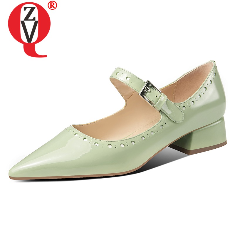 ZVQ natural patent leather women's shoes spring summer pointed toe Mary Jane pumps green 3.5cm low square heels woman pumps