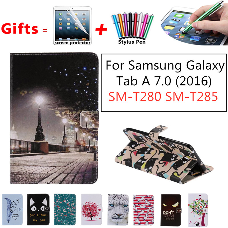 For Coque <font><b>Samsung</b></font> <font><b>Galaxy</b></font> <font><b>Tab</b></font> <font><b>A</b></font> <font><b>7.0</b></font> (2016) T280 T285 SM-T280 Tablet <font><b>Case</b></font> Flip PU Leather Stand Book Cover 2016 <font><b>Tab</b></font> A6 SM-T285 image