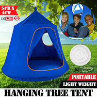 220 pound load bearing child blue pod swing chair tent indoor outdoor garden hammock spacious and comfortable
