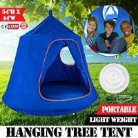 Children's blue pod swing chair tent indoor outdoor garden hammock lightweight and portable