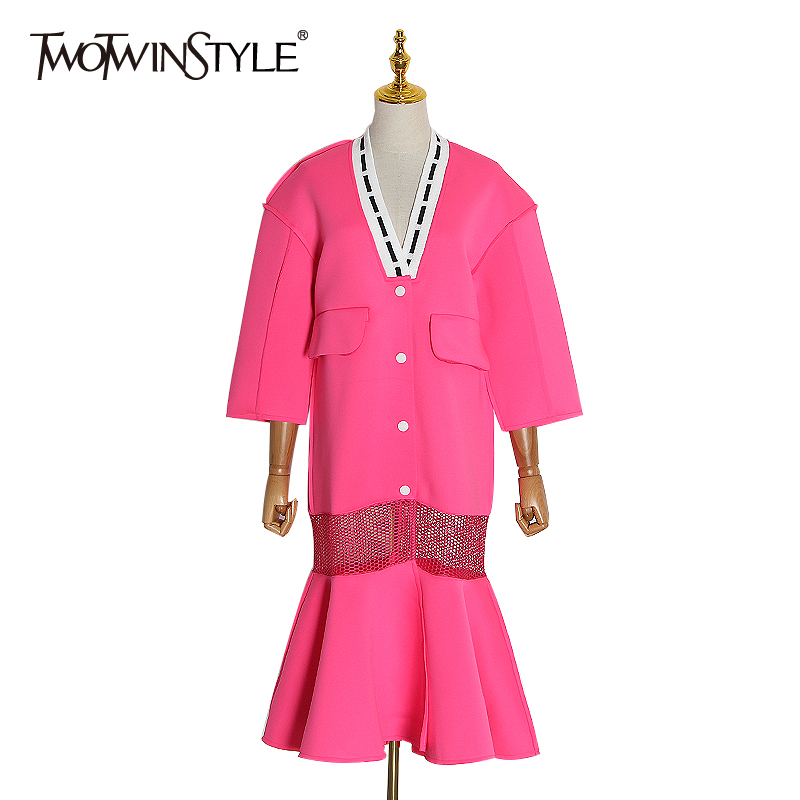 TWOTWINSTYLE Patchwork Hit Color Women Jacket V Neck Three Quarter Sleeve High Waist Ruffle Hem Coat Female Fashion Clothing New
