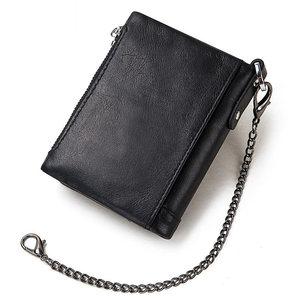 Image 2 - Rfid véritable cuir de vache portefeuille hommes porte monnaie petit Mini port carte chaîne portefeuille Portomonee mâle Walet poche mode moraillon