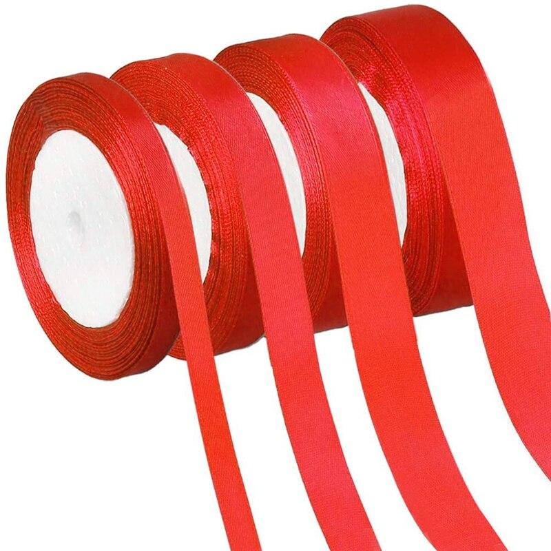 Красивая атласная красная лента ручной работы с бантом 6 мм-50 мм 25 ярдов/Партия DIY ленты для корсажа цветок торт подарочная упаковка ленты ма...