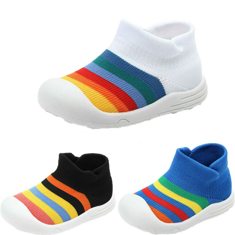 Summer Fall Toddler Baby Unisex Crib Shoes Kids Rainbow Weaving Soft Sole Shoes First Walkers