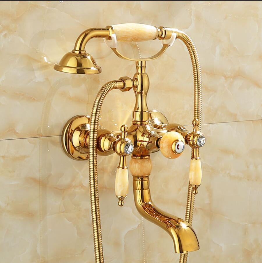 Vidric Shower Faucet Brass Polished Gold Bathtub Faucets Hand Rain Shower Head Tap Luxury Jade Telephone Wall Bath & Shower Fauc