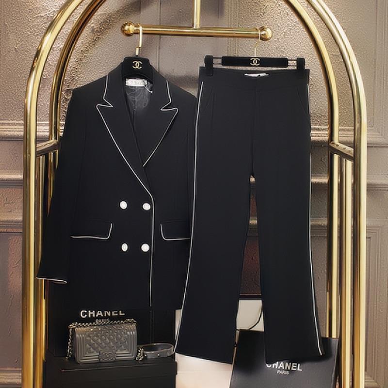 New Fashion Slim Business Wear Elegant Women Office OL Jacket Set Formal Blazer + Ankle_length Pants Suit Feminino Female