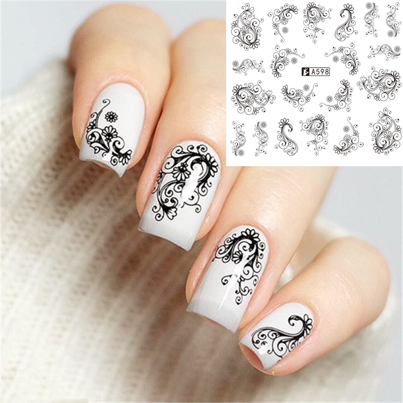 Black Lace Manicure Watermarking Adhesive Paper Nail Sticker A589